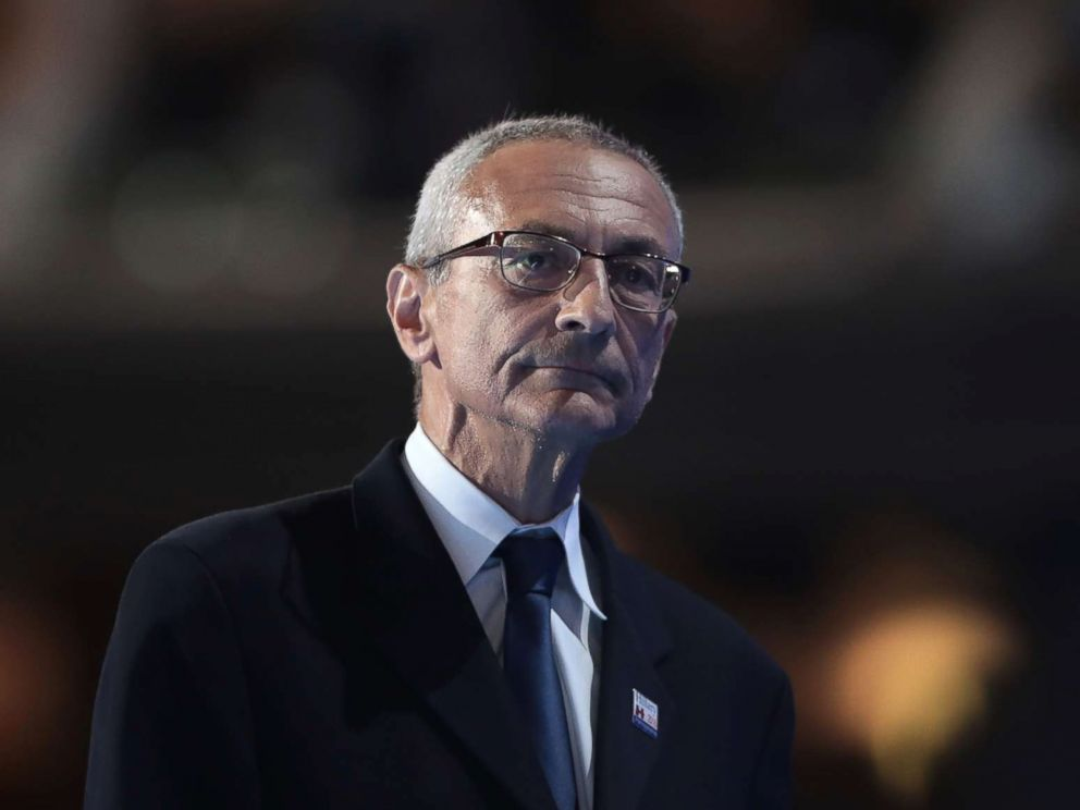 PHOTO: John Podesta, chair of the Hillary Clinton presidential campaign, walks off stage after delivering a speech on the first day of the Democratic National Convention at the Wells Fargo Center, July 25, 2016 in Philadelphia.
