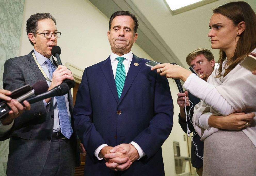 PHOTO: Rep. John Ratcliffe pauses while speaking to members of the media on Capitol Hill in Washington, Oct. 25, 2018.