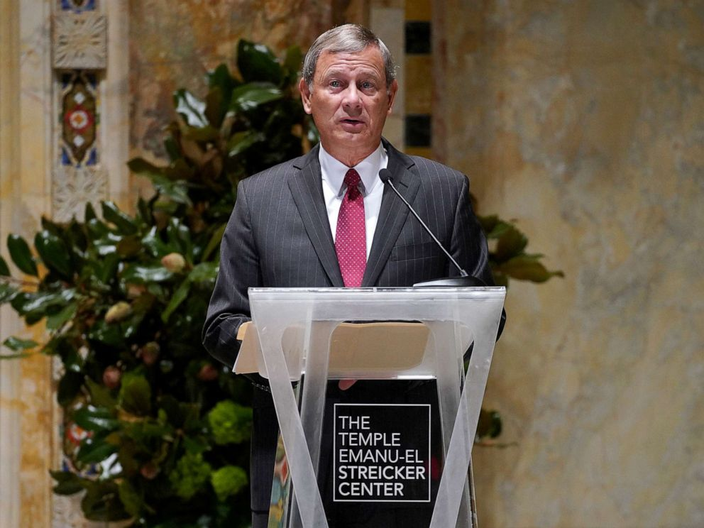 PHOTO: Chief Justice of the United States John G. Roberts Jr. speaks onstage during A Conversation With Chief Justice Of The United States at Temple Emanu-El on Sept. 24, 2019, in New York City.