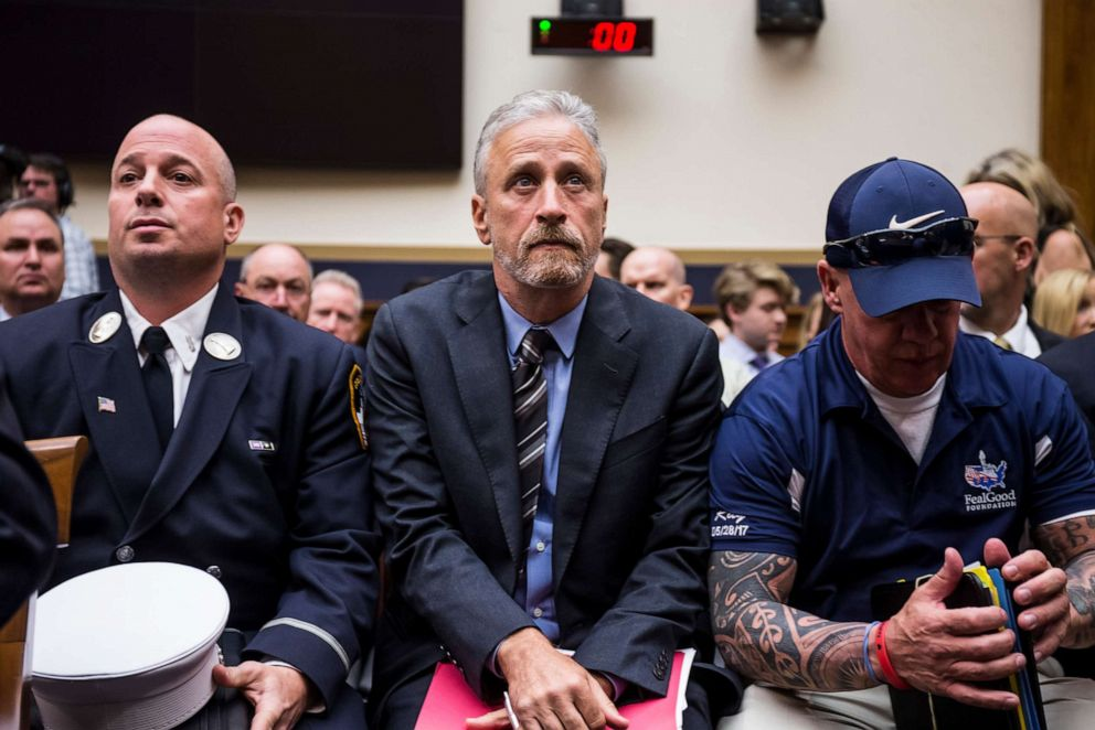 PHOTO: Jon Stewart arrives before testifying during a House Judiciary Committee hearing on reauthorization of the September 11th Victim Compensation Fund on Capitol Hill on June 11, 2019 in Washington, DC.