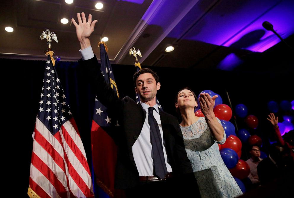 PHOTO: In this June 20, 2017 file photo, Democratic candidate for 6th congressional district Jon Ossoff, left, concedes to Republican Karen Handel while joined by his fiancee Alisha Kramer at his election night party in Atlanta.