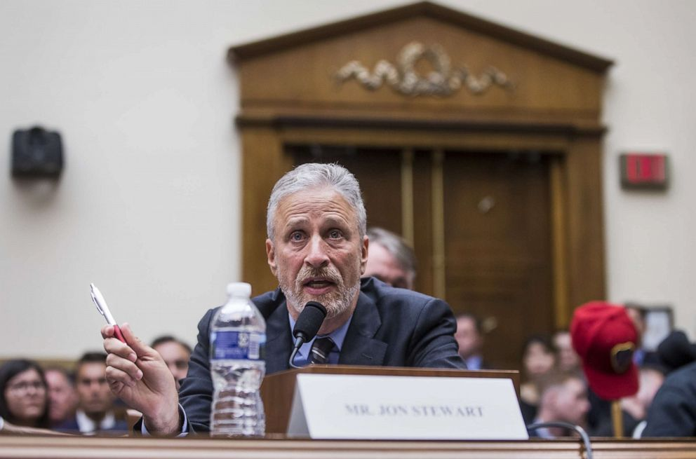PHOTO:Jon Stewart testifies during a House Judiciary Committee hearing on re-authorization of the September 11th Victim Compensation Fund on Capitol Hill, June 11, 2019, in Washington, D.C.