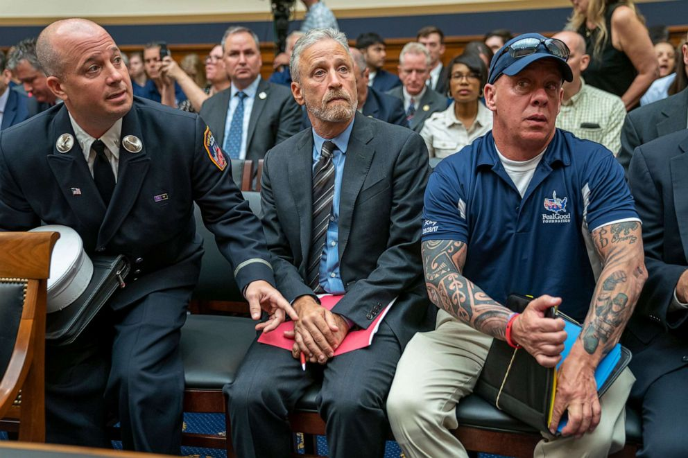 PHOTO: Jon Stewart lends his support to firefighters, first responders and survivors of the September 11 terror attacks at a hearing on Capitol Hill in Washington, June 11, 2019.