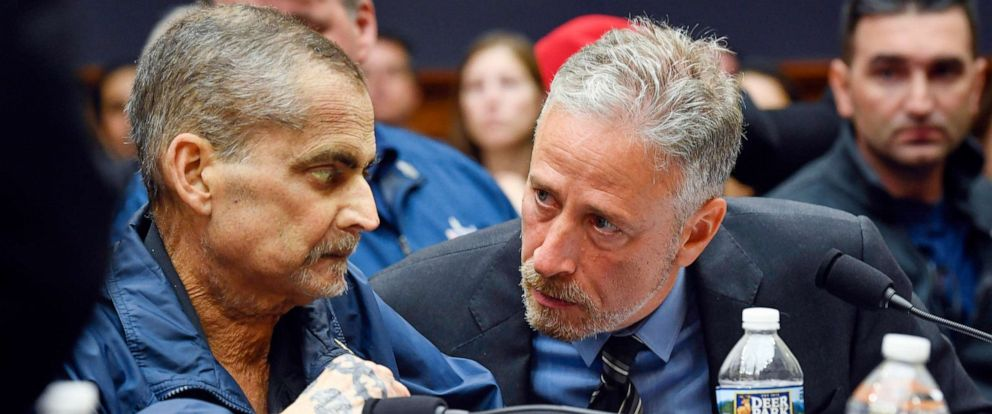 PHOTO: Jon Stewart speaks with Luis Alvarez, Retired Detective and 9/11 Responder, New York Police Department, June 11, 2019, in Washington, D.C.