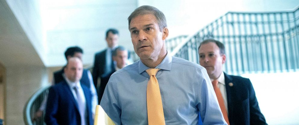 PHOTO: Rep. Jim Jordan, R-Ohio, arrives for a closed-door interview of Kurt Volker at the Capitol, Oct. 3, 2019.