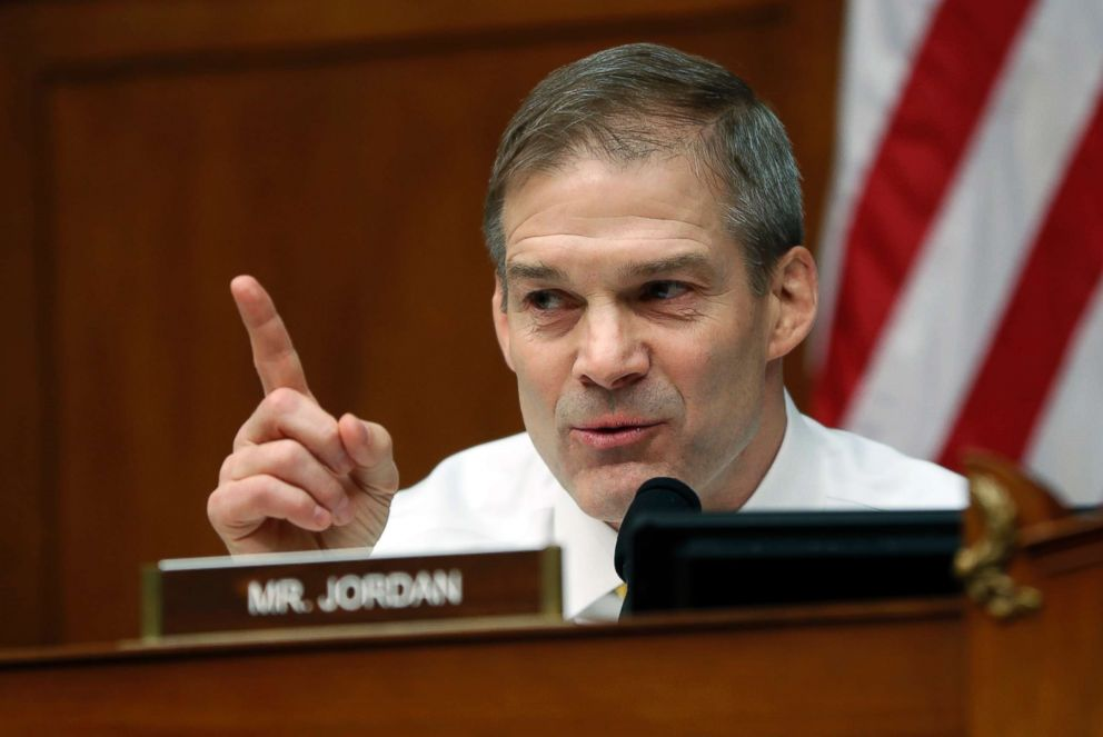 PHOTO: Ranking Member Jim Jordan questions Michael Cohen, President Donald Trumps former personal lawyer, during a hearing of the House Oversight and Reform Committee on Capitol Hill in Washington, D.C., Feb. 27, 2019.