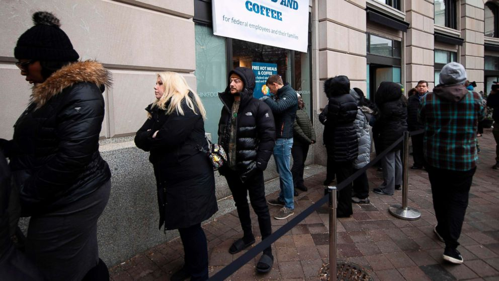 Federal Workers Line Up For Free Meals Visit Food Banks As Shutdown