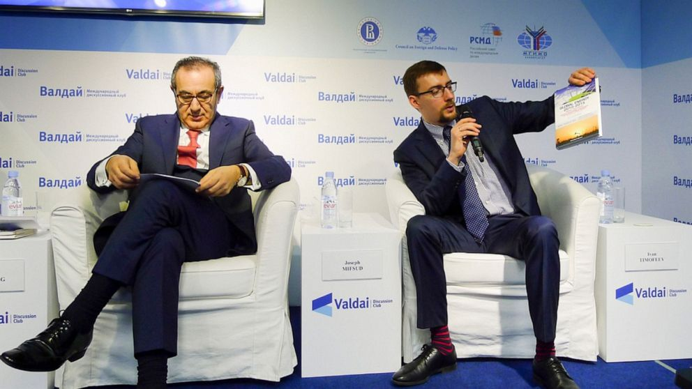 Ivan Timofeev, right, and Joseph Mifsud attend the Valdai Discussion Club Conference following the results of the closed-door Iran-Russia discussion in Moscow, Russia.