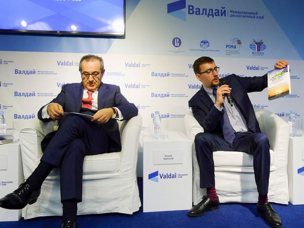 PHOTO: Ivan Timofeev, right, and Joseph Mifsud attend the Valdai Discussion Club Conference following the results of the closed-door Iran-Russia discussion in Moscow, Russia.