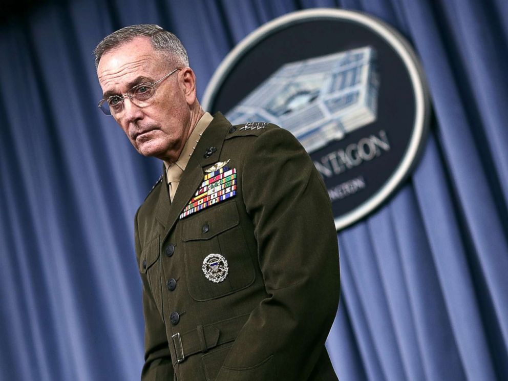 PHOTO: Chairman of the Joint Chiefs of Staff Marine Gen. Joseph F. Dunford Jr. answers questions during a Pentagon briefing, May 19, 2017, in Arlington, Virginia.