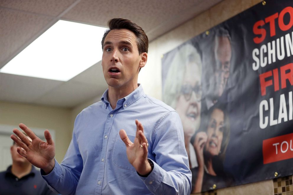 In this Sept. 27, 2018 file photo, Missouri Attorney General and Republican U.S. Senate candidate Josh Hawley speaks to supporters during a campaign stop in St. Charles, Mo.