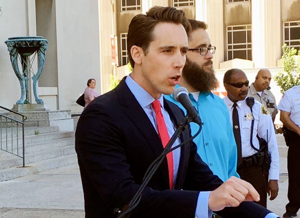 PHOTO: Missouri Attorney General Josh Hawley speaks at a news conference in St. Louis, June 21, 2017.