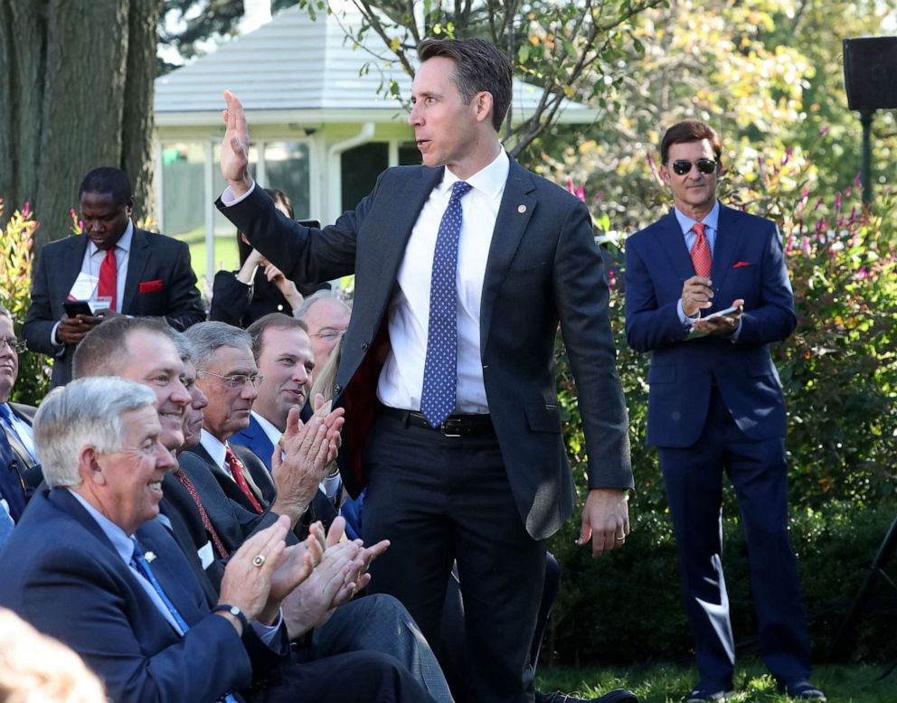 PHOTO: Sen. Josh Hawley is introduced during an event in the Rose Garden at the White House on Oct. 15, 2019, in Washington.