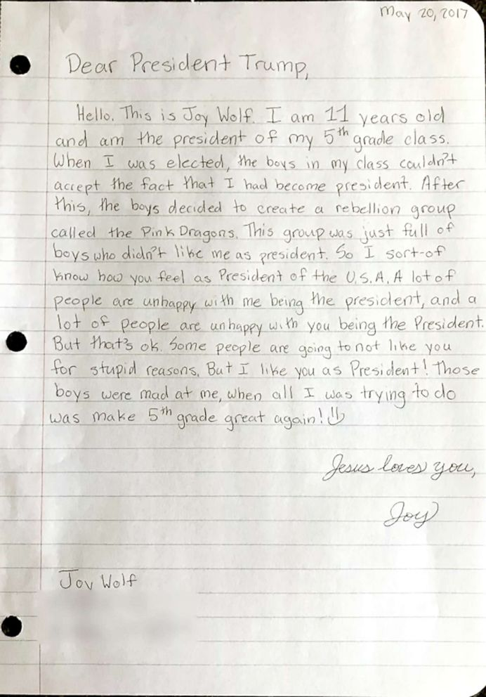 Girl's letter to Trump reportedly to be read at press briefing