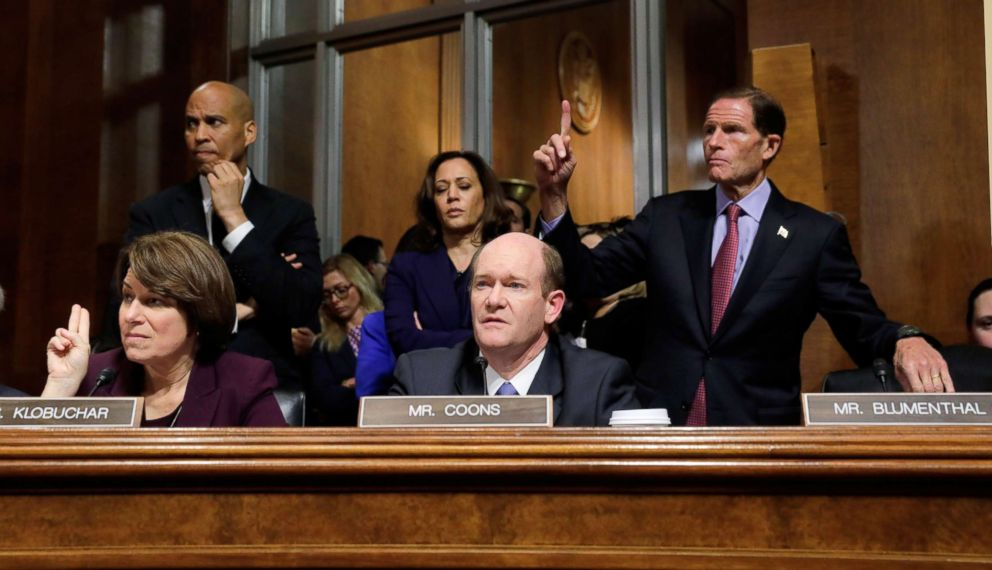 PHOTO: Democratic Senate Judiciary Committee members, Sen. Amy Klobuchar and Sen. Chris Coons and back row, Sen. Cory Booker, Sen. Kamila Harris and Sen. Richard Blumenthal, during the confirmation hearing of Judge Brett Kavanaugh, Sept. 28, 2018.