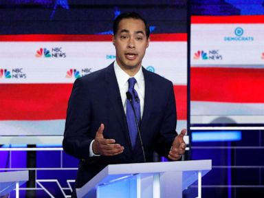 PHOTO: Former HUD Secretary Julian Castro speaks at the first U.S. 2020 presidential election Democratic candidates debate in Miami on June 26, 2019.