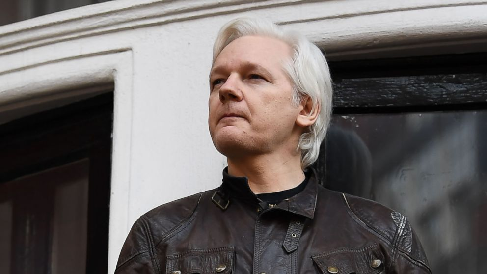 Wikileaks founder Julian Assange speaks to the media from the balcony of the Embassy of Ecuador in London on May 19, 2017.