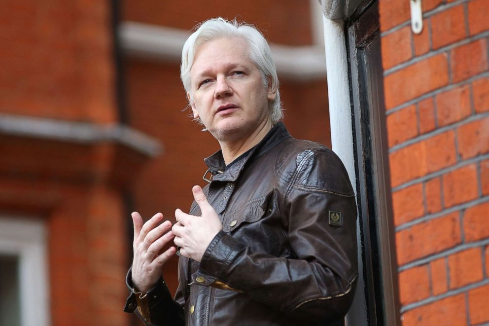 Julian Assange speaks to the media from the balcony of the Embassy Of Ecuador, May 19, 2017, in London.
