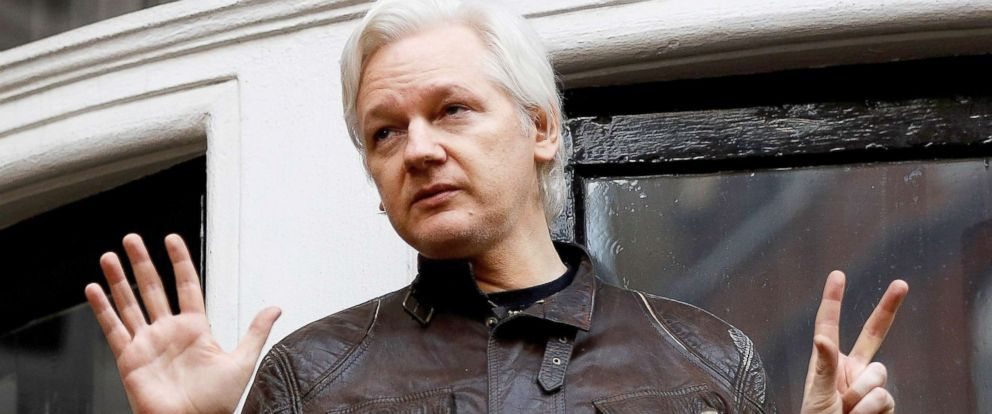 PHOTO: WikiLeaks founder Julian Assange is seen on the balcony of the Ecuadorian Embassy in London, Britain, May 19, 2017.