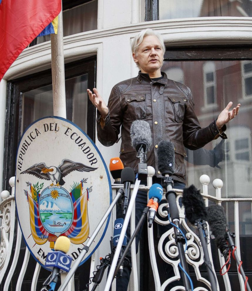 PHOTO: Wikileaks founder Julian Assange speaks on the balcony of Ecuadorian embassy on May 19, 2017 in London.
