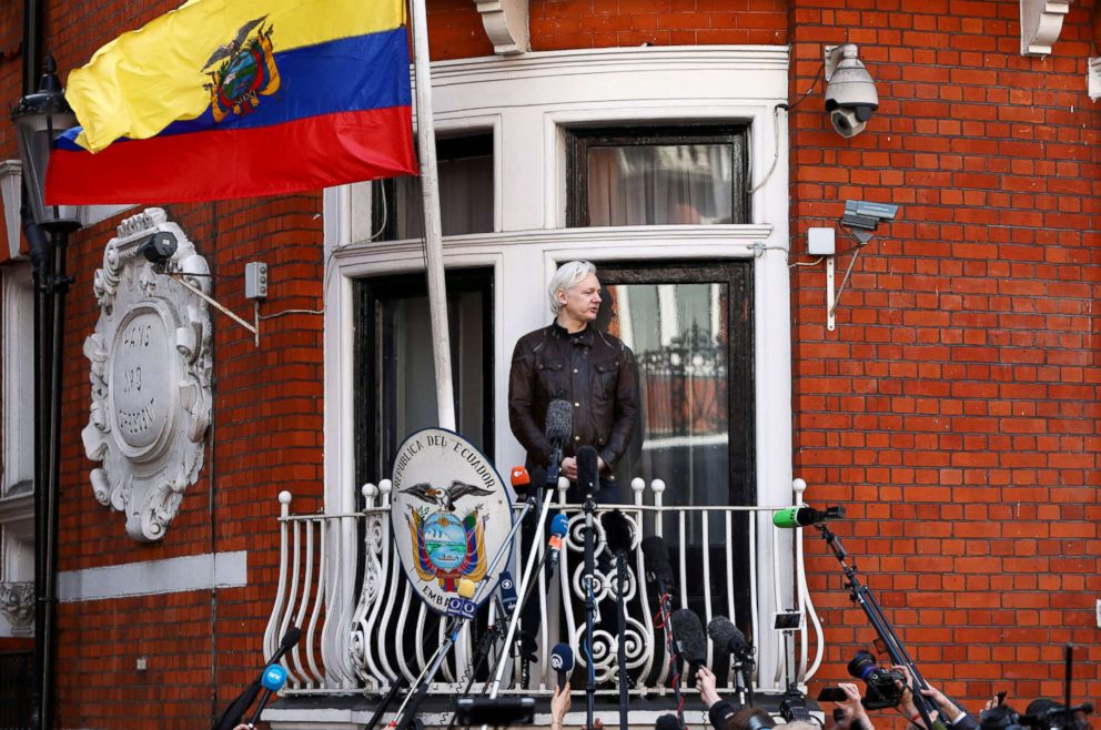 PHOTO: WikiLeaks founder Julian Assange speaks on the balcony of the Embassy of Ecuador in London, Britain, May 19, 2017.