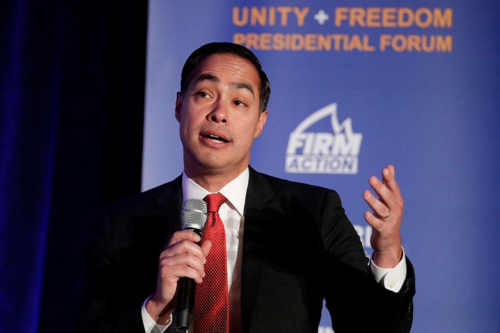 PHOTO: Democratic presidential candidate former Secretary of Housing and Urban Development Julian Castro speaks during a campaign event at the Unity Freedom Presidential Forum, May 31, 2019, in Pasadena, Calif.