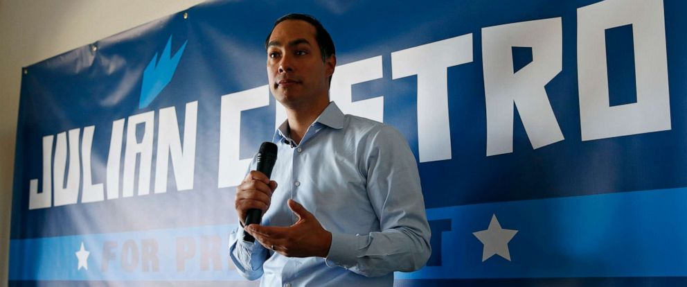 PHOTO: Former Housing and Urban Development Secretary and Democratic presidential candidate Julian Castro speaks at a campaign event at a home Friday, Aug. 2, 2019, in Boulder City, Nev.