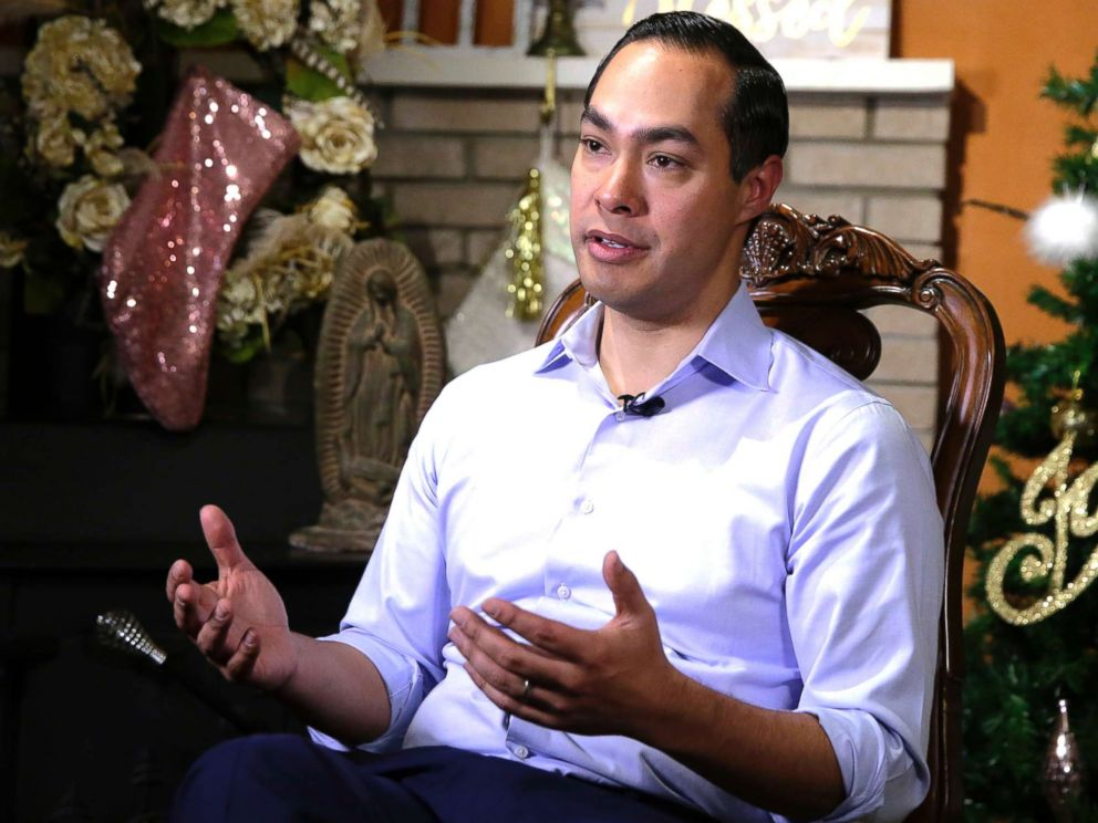PHOTO: Democrat Julian Castro talks about exploring the possibility of running for president in 2020, at his home in San Antonio, Dec. 11, 2018.