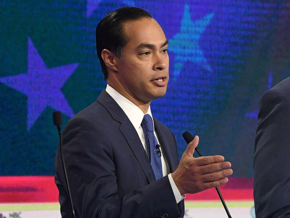 PHOTO: Julian Castro participates in the first Democratic primary debate hosted by NBC News at the Adrienne Arsht Center for the Performing Arts in Miami, Florida, June 26, 2019.