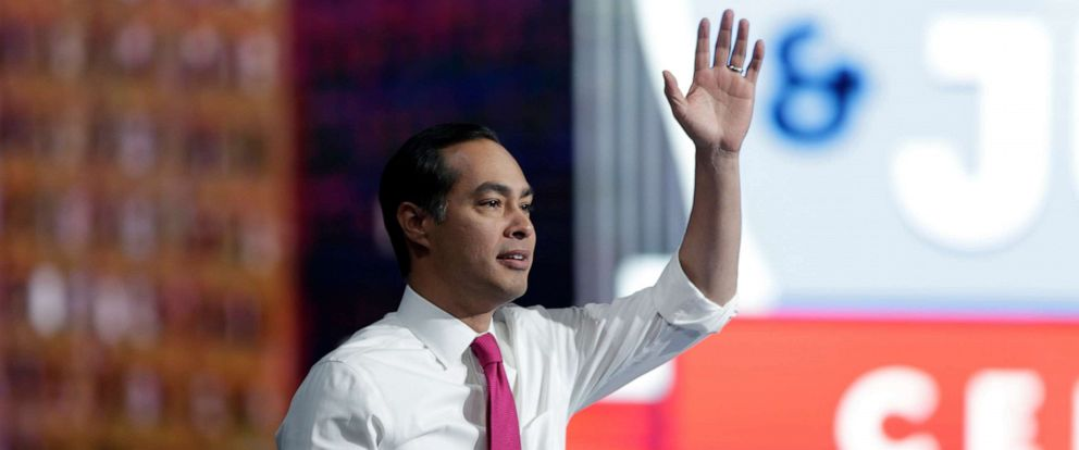 PHOTO: Democratic presidential candidate Julian Castro arrives to speak at the Iowa Democratic Partys Liberty and Justice Celebration, Nov. 1, 2019, in Des Moines, Iowa.