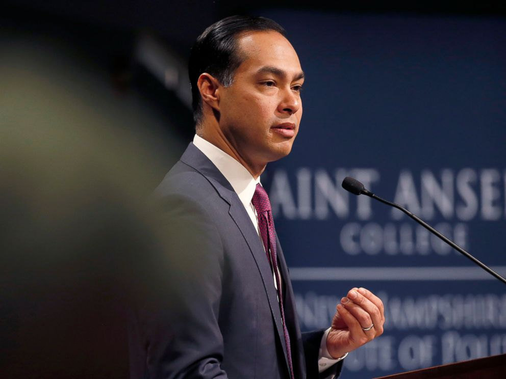 PHOTO: Julian Castro, former U.S. Secretary of Housing and Urban Development and candidate for the 2020 Democratic presidential nomination, speaks at Saint Anselm College, Jan. 16, 2019, in Manchester, N.H.