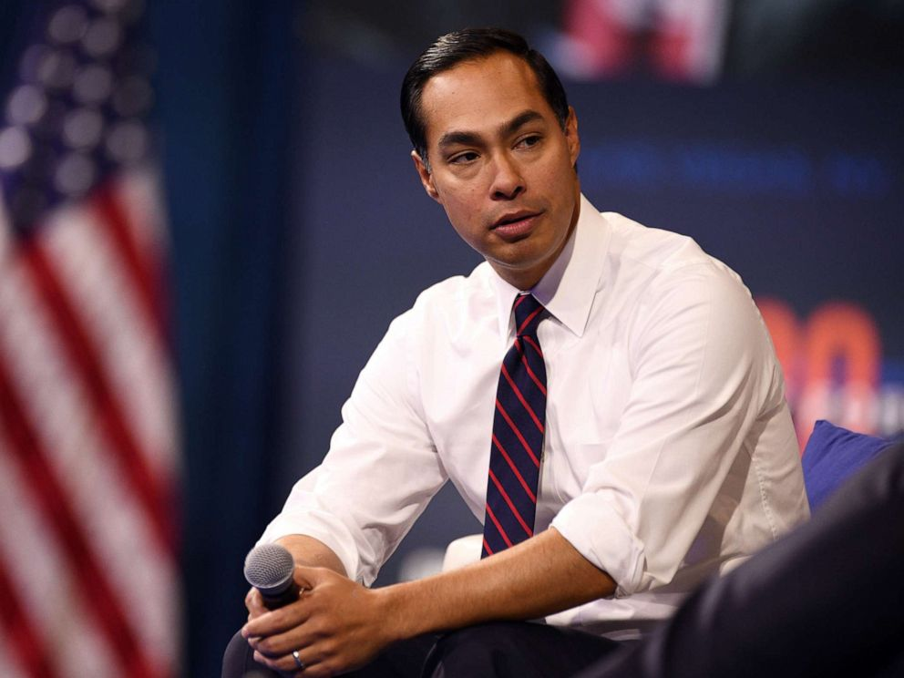 PHOTO: Julian Castro listens to a question during the Presidential Gun Safety Forum in Las Vegas, on Oct. 2, 2019.