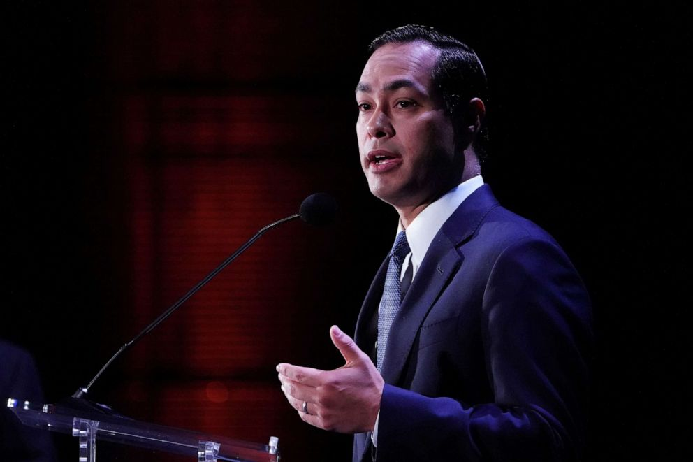 PHOTO: Democratic 2020 U.S. presidential candidate Julian Castro speaks on stage at the Presidential Candidate Forum hosted by NALEO at Telemundo Center in Miami on June 21, 2019.