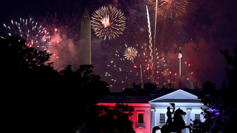 PHOTO: Fireworks explode behind the White House near the Washington Monument, July 4, 2020 in Washington, D.C.