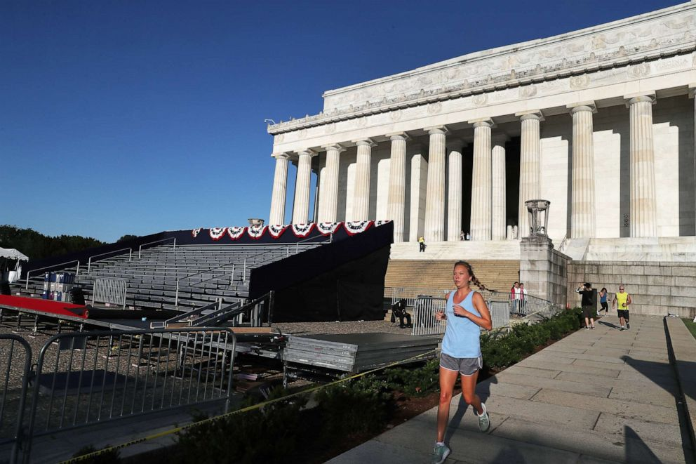 PHOTO:A jogger runs past the Lincoln Memorial ahead of the July 4th Salute to America celebration, July 2, 2019, in Washington, D.C.