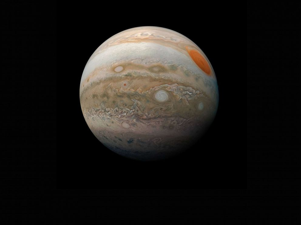PHOTO: This view of Jupiters Great Red Spot and turbulent southern hemisphere was captured by Juno as it performed a close pass of the gas giant planet, Feb. 12, 2019.