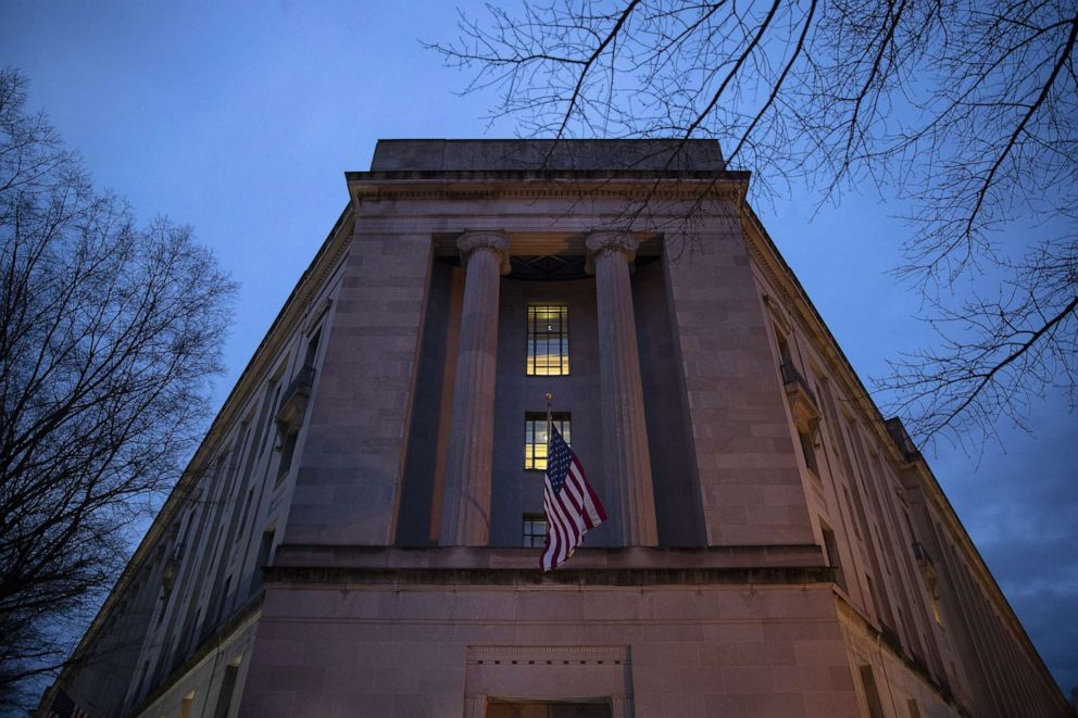 The Department of Justice stands in the early hours of March 22, 2019 in Washington, D.C.