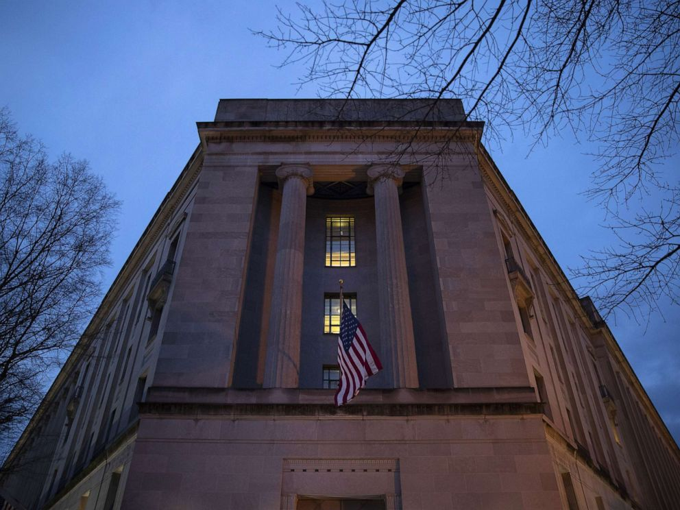 PHOTO: The Department of Justice stands in the early hours of March 22, 2019 in Washington, D.C.