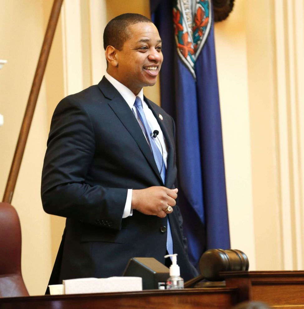 PHOTO: Virginia Lt. Gov. Justin Fairfax presides over the end of the 2019 Senate session at the Capitol in Richmond, Va., Feb. 24, 2019.