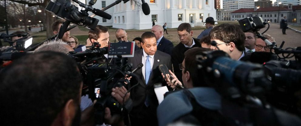 PHOTO: Virginia Lieutenant Governor Justin Fairfax addresses the media about a sexual assualt allegation from 2004 outside of the capital building in dowtown Richmond, Feb. 4, 2019.