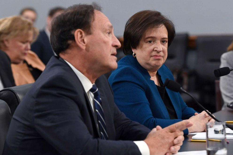 PHOTO: Supreme Court Justices Samuel Alito, left, and Elena Kagan, right, testify before House Appropriations Committee on Capitol Hill in Washington, March 7, 2019.