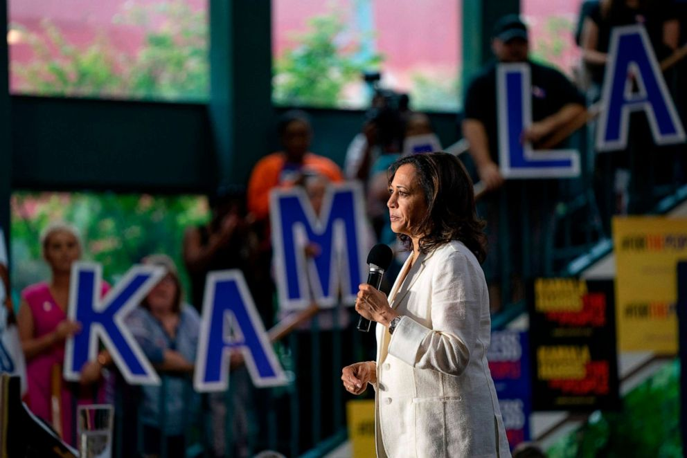 PHOTO: 2020 Democratic Presidential hopeful Senator Kamala Harris speaks at a campaign rally in Davenport, Iowa on August 12, 2019.