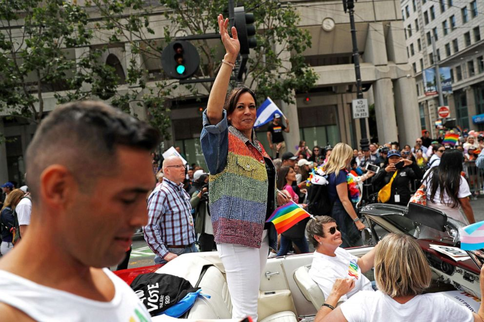 PHOTO: Democratic presidential candidate Kamala Harris waves as she joins supporters of the LGBTQ community at the Pride Parade in San Francisco, Calif., June 30, 2019.