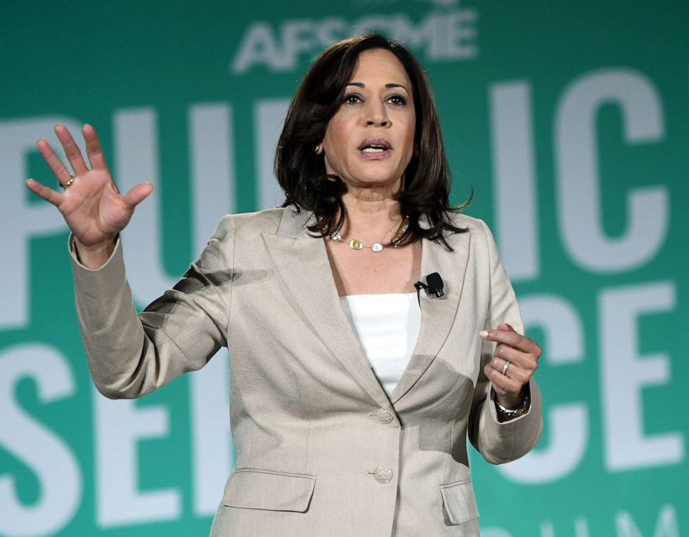 PHOTO: Democratic presidential candidate and U.S. Sen. Kamala Harris, D-Calif., speaks during the 2020 Public Service Forum hosted by the American Federation of State, County and Municipal Employees (AFSCME) on Saturday, Aug. 3, 2019 in Las Vegas.