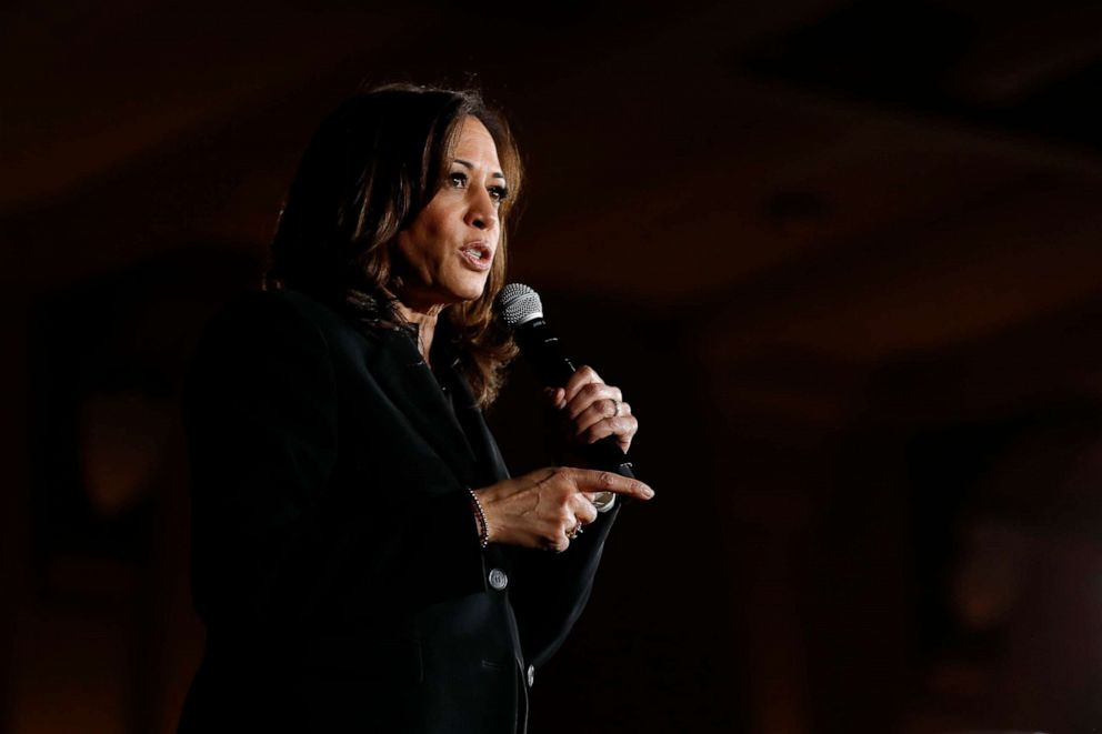 PHOTO: Democratic presidential candidate Sen. Kamala Harris speaks during a town hall meeting at the University of Iowa, April 10, 2019, in Iowa City, Iowa.
