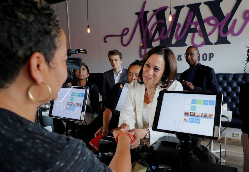 PHOTO: Presidential candidate and Senator Kamala Harris makes a campaign visit to the Narrow Way Cafe and Shop in Detroit, Mich., July 29, 2019.