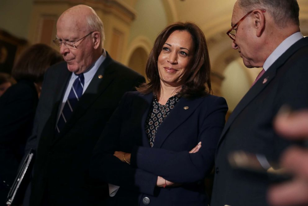 PHOTO:Sen. Kamala Harris talks to reporters following the weekly Democratic Senate policy luncheon at the Capitol, Nov. 27, 2018.