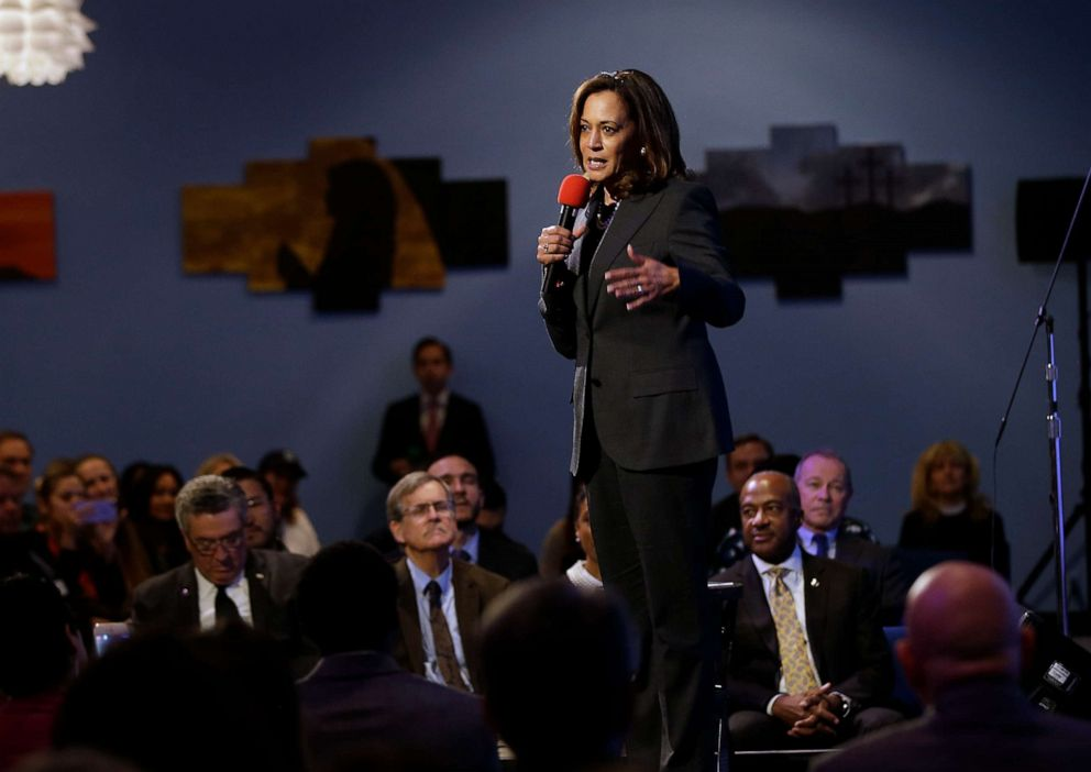 PHOTO: Sen. Kamala Harris speaks at a a town hall meeting in Sacramento, Calif., April 5, 2018.