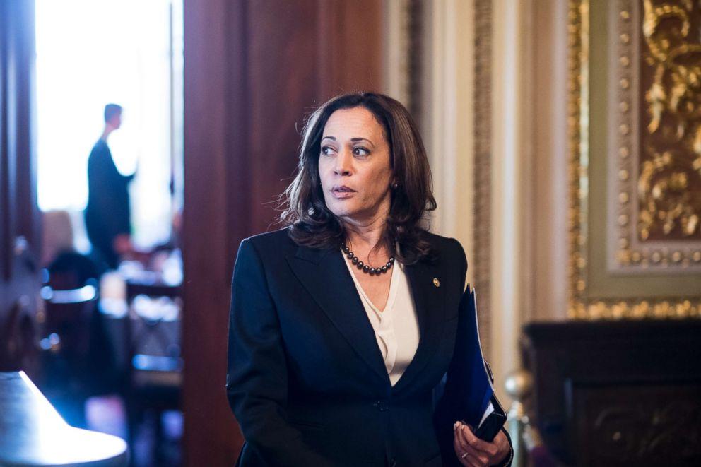 PHOTO: Sen. Kamala Harris leaves the Senate Democrats policy lunch, Oct. 10, 2018.