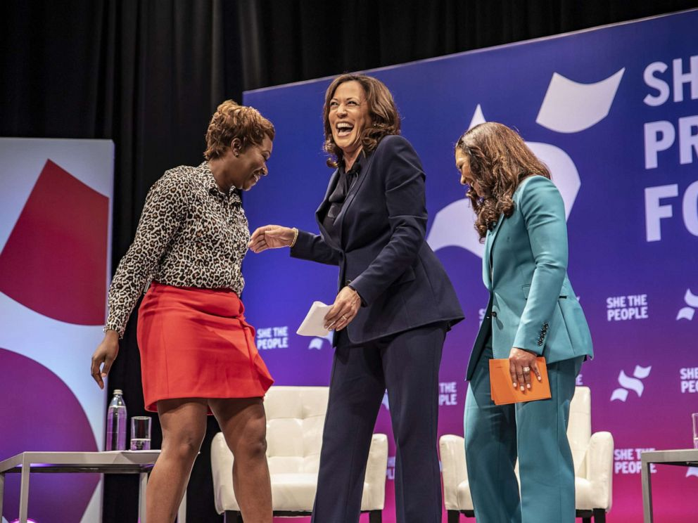 PHOTO: Democratic presidential candidate Sen. Kamala Harris greets the crowd at the She The People Presidential Forum at Texas Southern University on April 24, 2019, in Houston.
